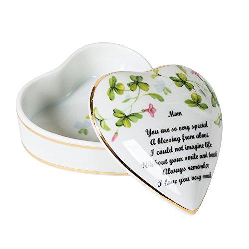 Mom Sentiment Shamrocks Heart Shaped 3 x 3 Inch Porcelain Trinket Jewelry Box