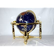 Unique Art 220-GB-BLUE-GOLD 13-Inch by 9-Inch Blue Lapis Ocean Table Top Gemstone World Globe with Gold Tripod