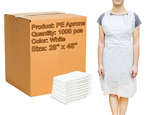 1000 Pack White PE Aprons 28 x 46 inches. 2 Mil Disposable Polyethylene Aprons. Unisex Liquid-Proof Workwear. White Protective Uniform Aprons for Men, Women. Lightweight, Breathable. Wholesale Price. 2 Mil White Polyester
