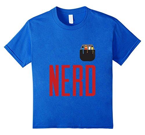 Kids Halloween Costume Nerd Shirt Cute Funny Adult & Kid Geeks 12 Royal Blue (Halloween Costume Nerd For Kids)