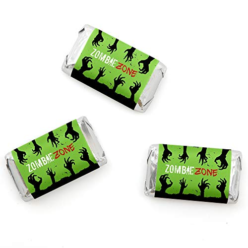 Big Dot of Happiness Zombie Zone - Mini Candy Bar Wrappers Halloween or Birthday Zombie Crawl Party Favors - 20 (Halloween Party Candy Bar)