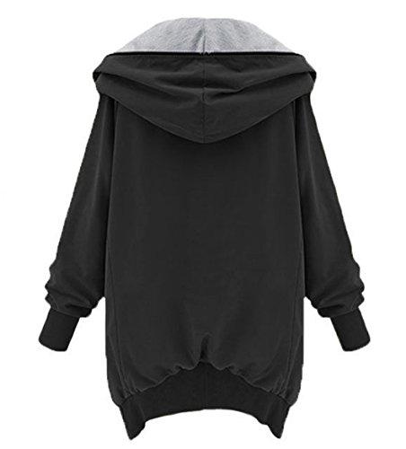 Elegante Blazer Forti Zip Giacche Capispalla Irregolare Giacca Nero E Cappotti Invernali Cappuccio Con Cappotto Sciolto Hoodie Autunno Donna Taglie Trench Jacket Parka wYfAC