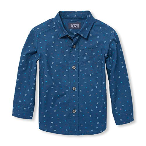 The Children's Place Baby Boys Long Sleeve POPLIN Printed Woven Shirt, CAPTAINNVY, 18-24MONTH