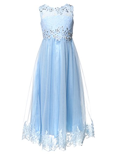 FAIRY COUPLE Big Girl's Appliques Floral Lace and Tulle Wedding Party Dress K0202 Size 12 Baby Blue (Fairy Tale Couples)