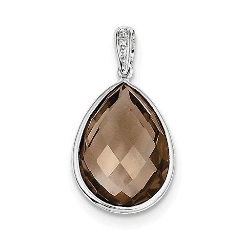 (Goldia Sterling Silver Rhodium Plated Diamond Smoky Quartz Teardrop Pendant)