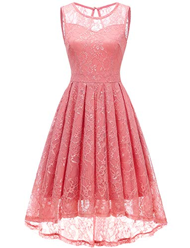 Gardenwed Women's Vintage Lace High Low Bridesmaid Dress Sleeveless Cocktail Party Swing Dress Coral-XS
