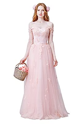 Beauty-Emily Lace Applique Transparent Long Sleeve Boat Neck Lace-Up Eveing Dresses