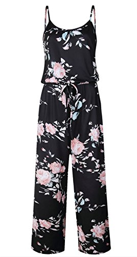 0d5774be55 Artfish Women Sexy Sleeveless Spaghetti Strap Floral Printed Harem Jumpsuit  Rompers (M