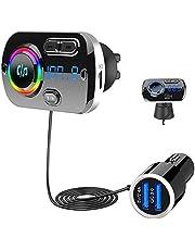 SONRU Nieuwste FM-zender Bluetooth 5.0, Bluetooth autoradiozender Handsfree carkit QC3.0 USB-autolader, Ondersteuning TF-kaart AUX-uitgang, Kristalgeluid, Kleurlicht, 1.1M-kabel, 2 installatiemogelijkheden