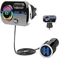 SONRU Nieuwste FM-zender Bluetooth 5.0, Bluetooth autoradiozender Handsfree carkit QC3.0 USB-autolader, Ondersteuning TF…