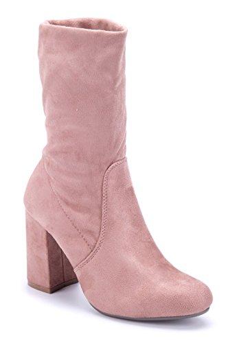 Schuhtempel24 Damen Schuhe Klassische Stiefeletten Stiefel Boots Blockabsatz Schlupf 9 cm Rosa