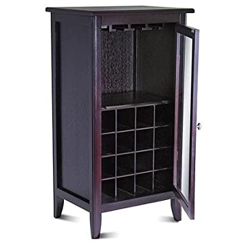 Espresso,16-Bottle Wine Cabinet with Glass Door