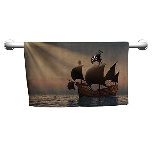warmfamily Pirate Beach and Pool House TowelShip with Black Flags Floating on Ocean in Rays of Sun Caravel Watercraft NauticalW12 x L35 Multicolor