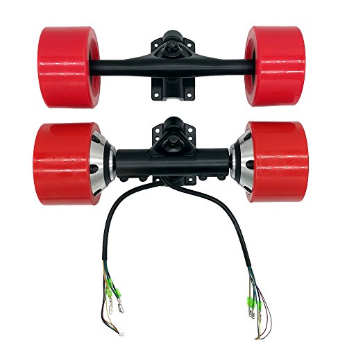ZXMOTO 7 Inch Truck 6364 Dual Hub Motor Drive Wheel Kit for Electric Skateboard Longboard Red