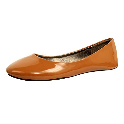 Westbalv Frauen Casual Ballett Flat Tan Patent
