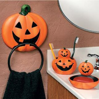 4 pc pumpkin jack o lantern halloween bathroom for Bathroom accessories uae