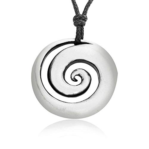 (Namaste Jewelers Hypnotic Spiral Shell Necklace Pendant Pewter Jewelry)