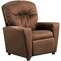 Kidz World 446464 Kids Recliner w Cupholder w Chocolate Suede, Brown