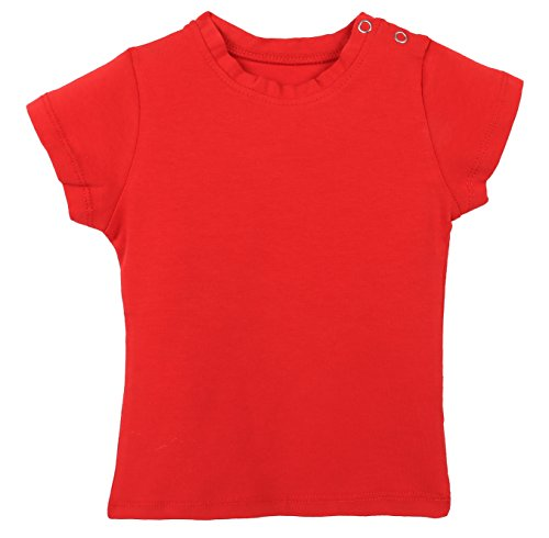 Lilax Baby Girls' Basic Short Sleeve Round Neck T-Shirt 12M Red (Cheerleading Outfits Cheap)