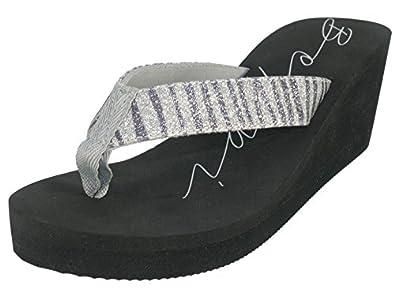 81e9e61ffc68 Beppi 2139200 Women thongs beach slides with heels silver-35  Amazon ...