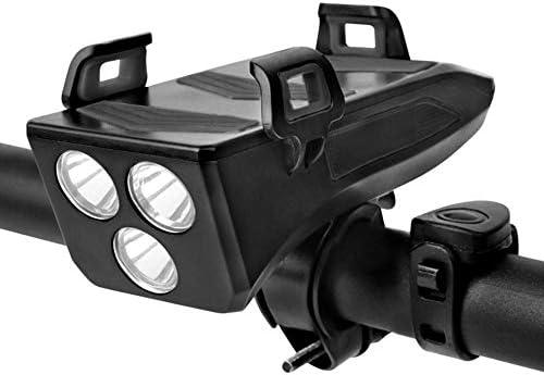 Multifonctionnel LED Vélo Lumière Support De Téléphone Portable Équitation Phare Haut-Parleur USB Chargeur Vélo Klaxon Guidon Support De Téléphone Portable-Rouge_États Unis