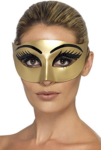 Uk Costume Cleopatra (Smiffy's Women's Evil Cleopatra Eyemask, Gold, One)