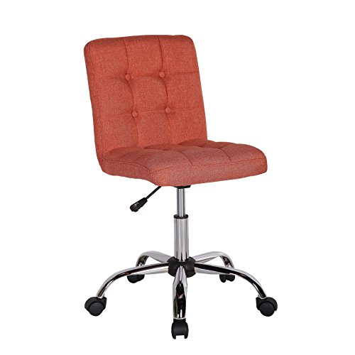 Porthos Home Alice Office Chair With Adjustable Height, 360° Swivel, Button Tufted Fabric Upholstery, Metal Legs And Roller Caster Wheels