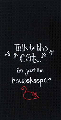 Kay Dee Designs F0781 Cat Housekeeper Embroidered Waffle - Eyed Black Cat