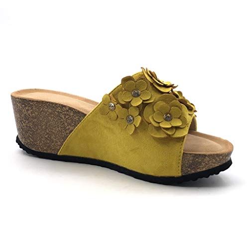5 Cm Fiori Platform AngkorlyFashion Confortevole Cork Shoes Sandals pratica 6 Yellowness Mules donna CxdBoe