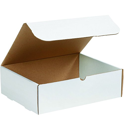 Boxes Fast BFM13104 Corrugated Cardboard Literature Mailers, 13 x 10 x 4 Inches, Tuck Top One-Piece, Die-Cut Shipping Boxes, Large White Mailing Boxes (Pack of 50) ()