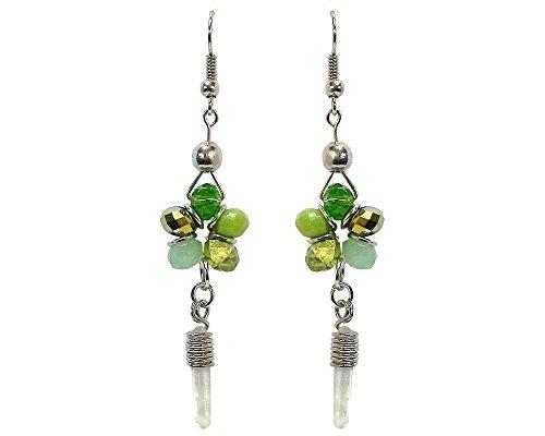 (Crystal Bead Flower Quartz Crystal Dangle Earrings (Green) )