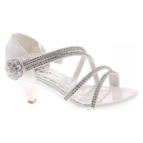 Forever Glamour-28 Kids Rhinestone Flower Sparkling Bling Heel Designed Dress Sandals,White/White,4 ()