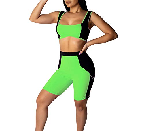 (Ophestin Womens 2 Piece Outfits Color Block Patchwork Bodycon Tank Top Cropped Pant Sports Shorts Set Green Size L )