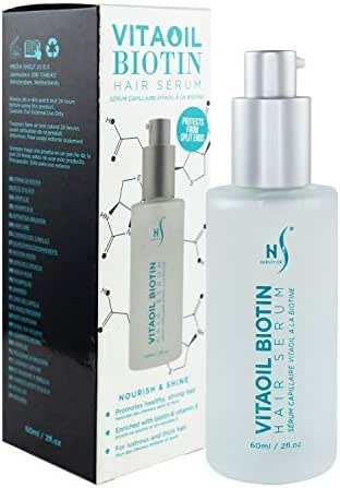 VitaOil Biotin Hair Serum for Hair Growth - Hair Loss Serum for Volume - Also Contains Argan Oil, Aloe Vera and Vitamin E - Hair Regrowth Serum for Healthy Hair - 60 Ml / 2 Fl. Oz.