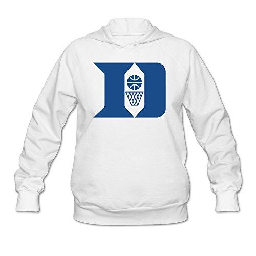 LaviV Women's Duke Blue Devils D Basketball And Basket Hooded Sweatshirt White