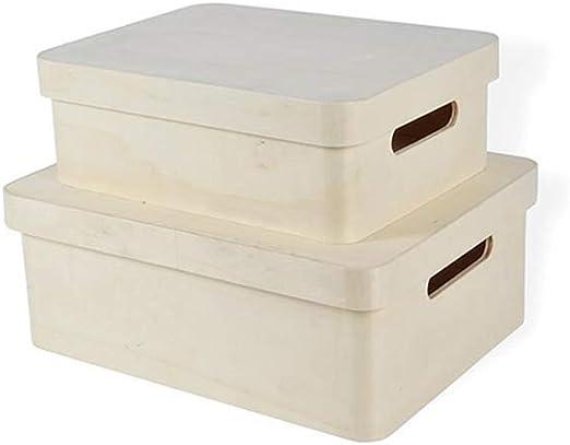ARTE-DIRECTO Set de 2 x Cajas de Madera con Tapa Decorativa - Cajas almacenaje para Decorar,Pintar,decoupage Medidas:35x27x13/ 30x23x10 Cm.: Amazon.es: Hogar
