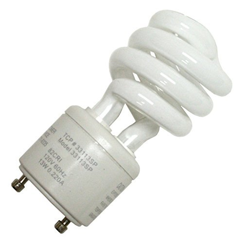 - (Case of 6) TCP 33113sp Springlamp CFL - 60 Watt Equivalent (13-watt Used) Soft White (2700-kelvin) Gu24 Base Spiral Light Bulb