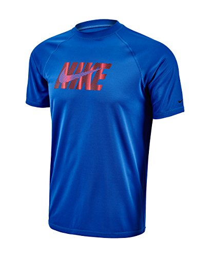 Nike Mens Eclipse Wave Logo Short Sleeve Hydro Rash Guard M HyperCobalt
