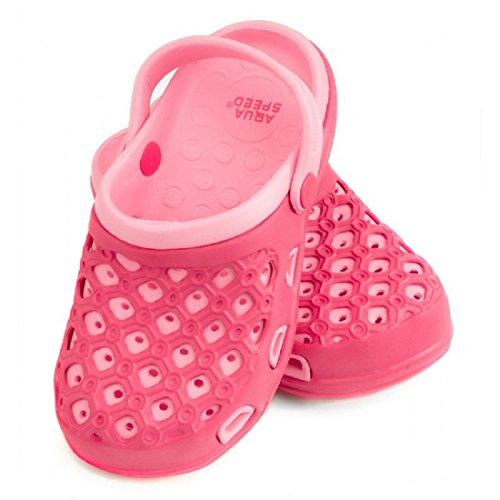Aqua Speed® Itaka baño pantoletten Zuecos Piscina Playa Piscina fixierschl aufe orificios de ventilación 2modelos Color Rosa Azul Farbe 03 / Rosa