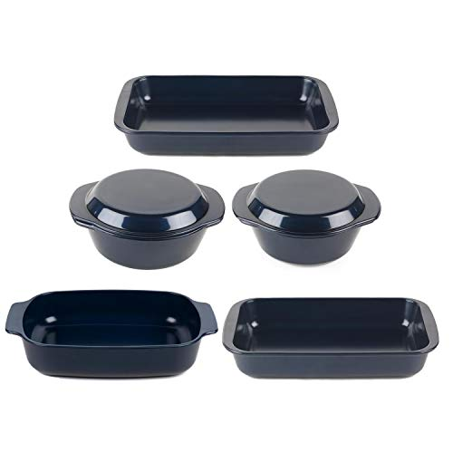 Russell Hobbs COMBO-6123 Thermo Glass Casserole Dish with Lid and Roasters Set of 5, Triple Layer Technology, Thermal…