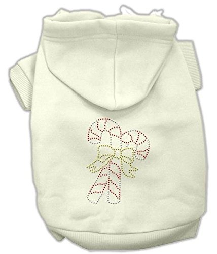 Candy Canes Hoodies Cream - Mirage Pet Products 8-Inch Candy Cane Hoodies, X-Small, Cream by Mirage Pet Products