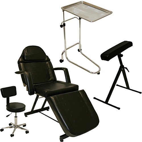 LCL Beauty Tattoo Package Massage Table Chair Arm Bar Bed Chrome Tray Studio Salon Spa Equipment by LCL Beauty