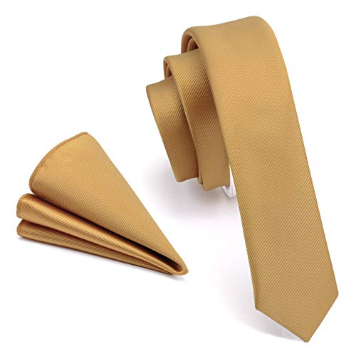 GUSLESON Slim Silk Tie Solid Gold Yellow Ties For Men Skinny Neckties and Pocket Square Sets (0802-11)
