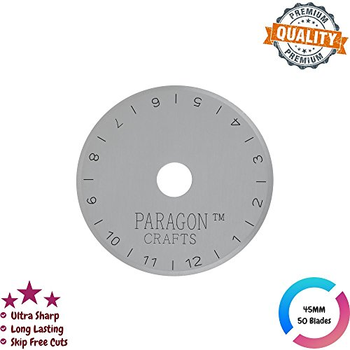 Ultra-Sharp Japanese Steel Rotary Cutter Blade For Quilting, Sewing & Scrapbooking – Skip-Free Reliable Design For Maximum Efficiency, Universally Compatible Cutter Blades – 45mm - 50-Pack by Paragon Crafts