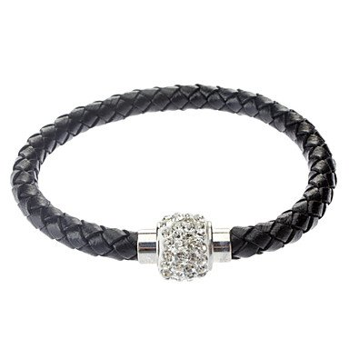 suravitshop-womens-pu-bracelet-with-crystal-disco-ball-magnetic-clasp-black