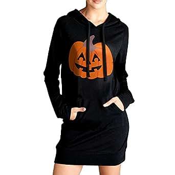 Women Jack O'lantern Halloween Casual Sweatshirt Tunic Slim Fit Hoodie Pockets Dress