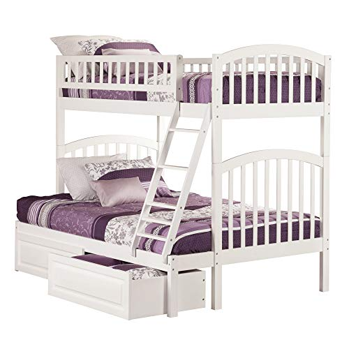 Atlantic Furniture Atlantic Richland White Twin-Over-Full Bunk Bed with 2 Raised-Panel Bed Drawers