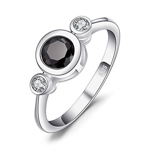 JewelryPalace Succinct 1.3ct Green Created Black Spinel Bezel Setting 3 Stone Ring 925 Sterling Silver Size 8 (3 Stone Setting)