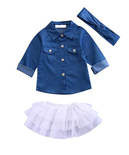 Baby Girl Summer Clothing Sets Clothes Denim Shirt Top +Tutu Skirts+Headband 3pcs Outfits 0-5T (0-1 Years, Blue)