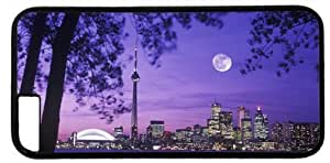 Toronto Skyline Night Moon Scenery Customized Hard Shell Black iphone 6 plus Case By Custom Service Your Perfect Choice